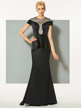 Gorgeous Jewel Beading Lace Short Sleeves Mermaid Sweep Train Evening Dress