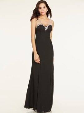 Elegant V Neck Beaded A Line Floor-Length Evening Dress