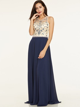 Scoop Neck Backless Beaded A Line Evening Dress