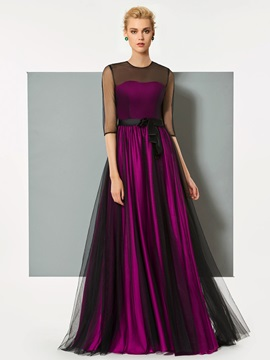 Elegant A-Line Button Half Sleeves Bowknot Button Scoop Evening Dress
