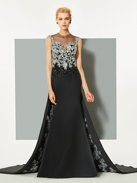 A-Line Sequins Appliques Button Evening Dress