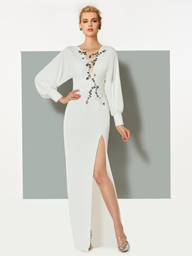 Elegant Long Sleeves Appliques Beading Split-Front V-Neck Evening Dress