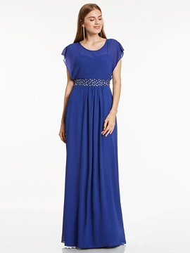 Chic Scoop Neck Cap Sleeves Beaded A Line Evening Dress