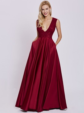 V Neck Lace A Line Evening Dress