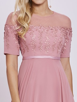Scoop Neck Appliques A Line Short Sleeves Evening Dress