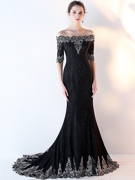 Gorgeous Mermaid Off-the-Shoulder Appliques Lace Half Sleeves Court Train Evening Dress