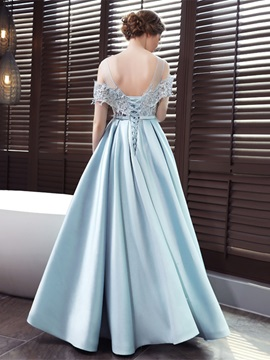 Scoop A-Line Appliques Bowknot Sashes Evening Dress