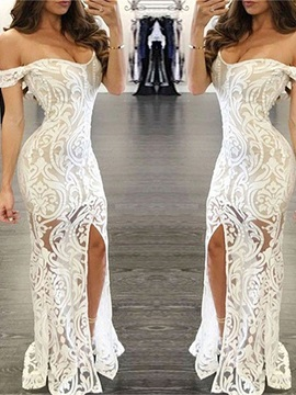 Presale Attractive Off-the-Shoulder Trumpet Lace Split-Front Floor-Length Evening Dress