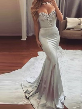 Elegant Mermaid Sweetheart Beading Court Train Evening Dress