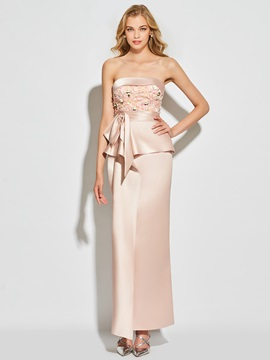 Charming Strapless Appliques Bowknot Sheath Ankle-Length Evening Dress