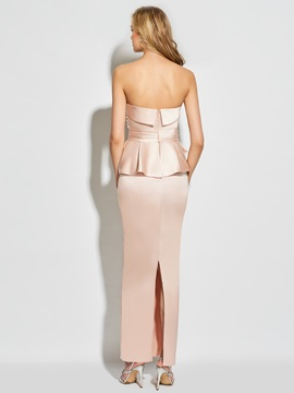 Strapless Appliques Bowknot Sheath Evening Dress