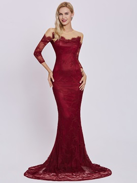 Scoop Neck Long Sleeves Lace Mermaid Evening Dress