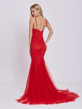 Scoop Backless Lace Mermaid Evening Dress