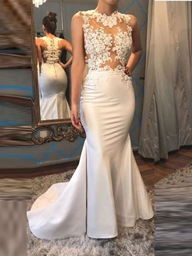 Elegant Mermaid Appliques Button Jewel Sweep Train Evening Dress