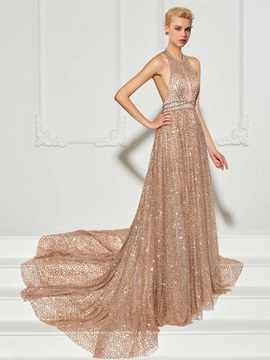 Fancy A-Line Halter Backless Beadings Court Train Evening Dress