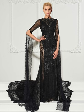 Eye-Catching Scoop Long Sleeeves Mermaid Button Lace Court Train Evening Dress