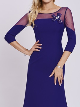 Scoop Neck Long Sleeves A Line Evening Dress