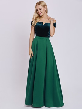 Elegant A-Line Off-the-Shoulder Sashes Floor-Length Evening Dress