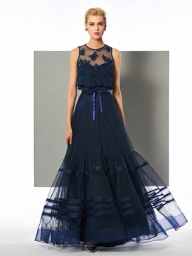 Elegant A-Line Jewel Appliques Bowknot Floor-Length Evening Dress