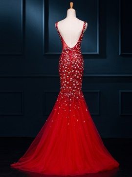 Gorgeous Scoop Neck Beaded Mermaid Evening Dress