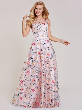 Scoop Lace Appliques A Line Printed Evening Dress