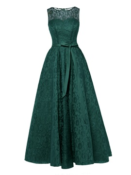 Scoop Lace A Line Evening Dress
