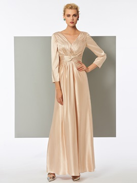 Classic A-Line V-Neck Sheath Pleats Evening Dress