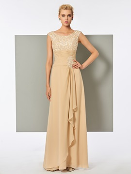 Pleats Scoop A-Line Lace Long Evening Dress