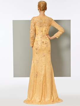 Pretty Long Sleeves A-Line Lace Appliques Evening Dress