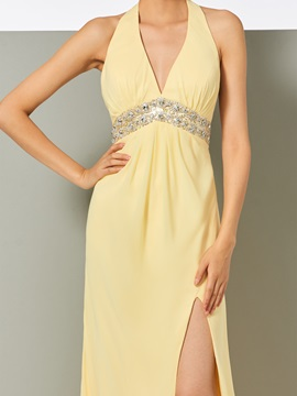 Popular Halter A-Line Split-Front Backless Evening Dress