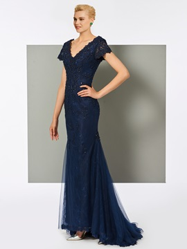 Fancy V-Neck Trumpet Lace Short Sleeves Evening Dress