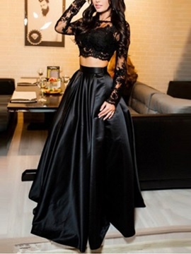 Hot Two Pieces Lace Long Sleeves Jewel Evening Dress