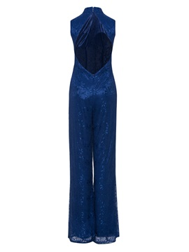 High Neck Backless Lace Evening Jumpsuits
