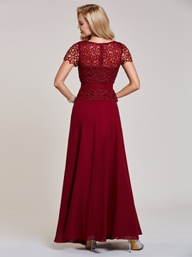 Scoop Short Sleeves Lace Sashes A-Line Evening Dress