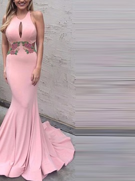 Embroidery Scoop Hollow Court Train Evening Dress