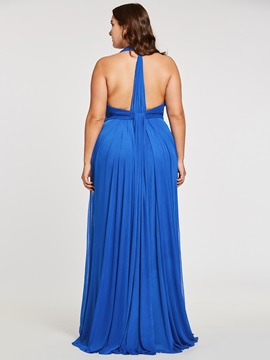 Halter Neck Pleats Sheath Long Evening Dress