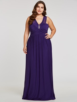 A-Line V-Neck Ruched Short Sleeves Floor-Length Evening Dress