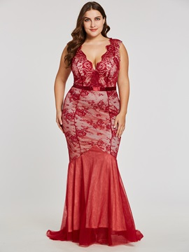 Backless Trumpet V-Neck Lace Floor-Length Evening Dress
