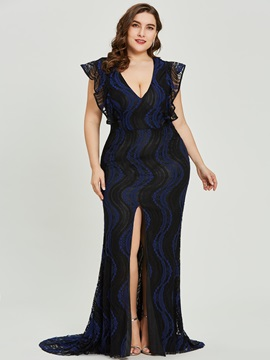 V Neck Split-Front Lace Mermaid Evening Dress