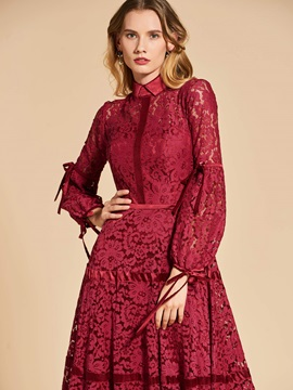 Chic A-Line Lace 3/4 Length Sleeves High Neck Evening Dress