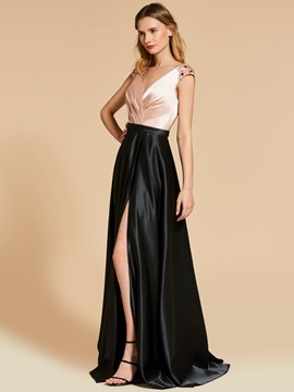 Multi Color Split-Front Pleats A-Line V-Neck Evening Dress