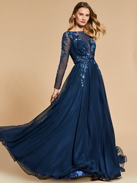 A-Line Bateau Button Appliques Beading Sequins Long Evening Dress