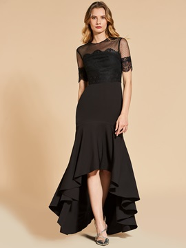 Trumpet Jewel Short Sleeves Asymmetry Evening Dress