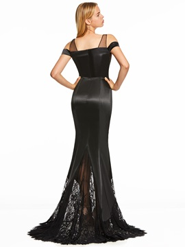 Straps Lace Zipper-Up Mermaid Evening Dress