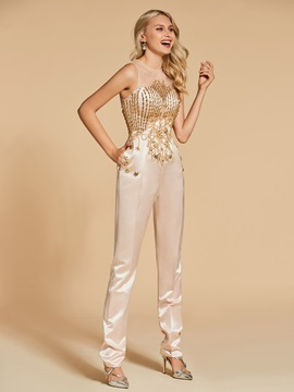 Pockets Beading Button Evening Jumpsuits