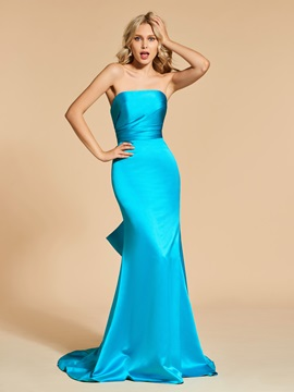 Ruffles Strapless Bowknot Mermaid Evening Dress