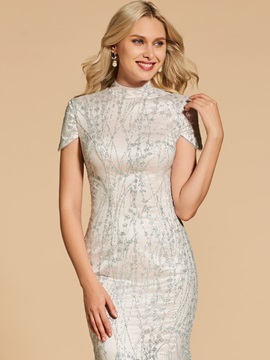 Lace High Neck Mermaid Short Sleeves Evening Dress