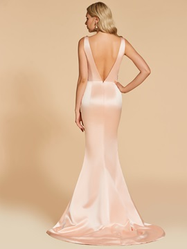 Beaded Straps Trumpet Appliques Court Train Evening Dress
