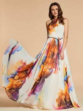 Printed A-Line Sashes Jewel Long Evening Dress