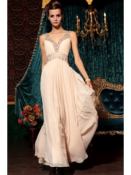 Graceful Straps Appliques V-Neck A-Line Floor-Length Prom Dress